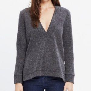 Madewell Deep V Grey Pullover